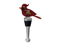 Bottle Stopper - Cardinal with Holly