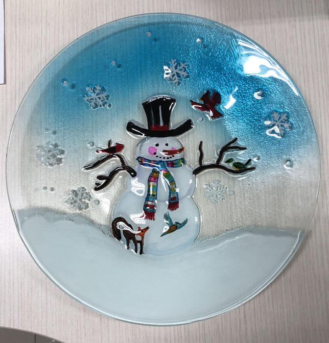 Snowman And Birds Glass Platter