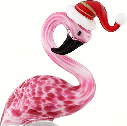 Flamingo in Santa Hat Holiday Glass Bottle Stopper