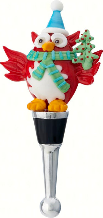 Festive Owl Holiday Glass Bottle Stopper