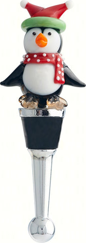 Christmas Penguin Glass Bottle Stopper