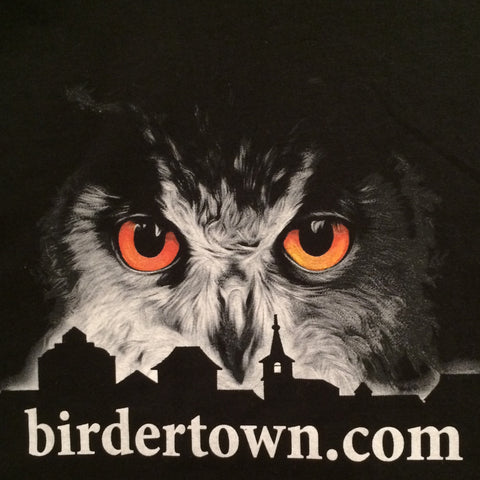 Owl Over Birdertown - Men's Black T-Shirt