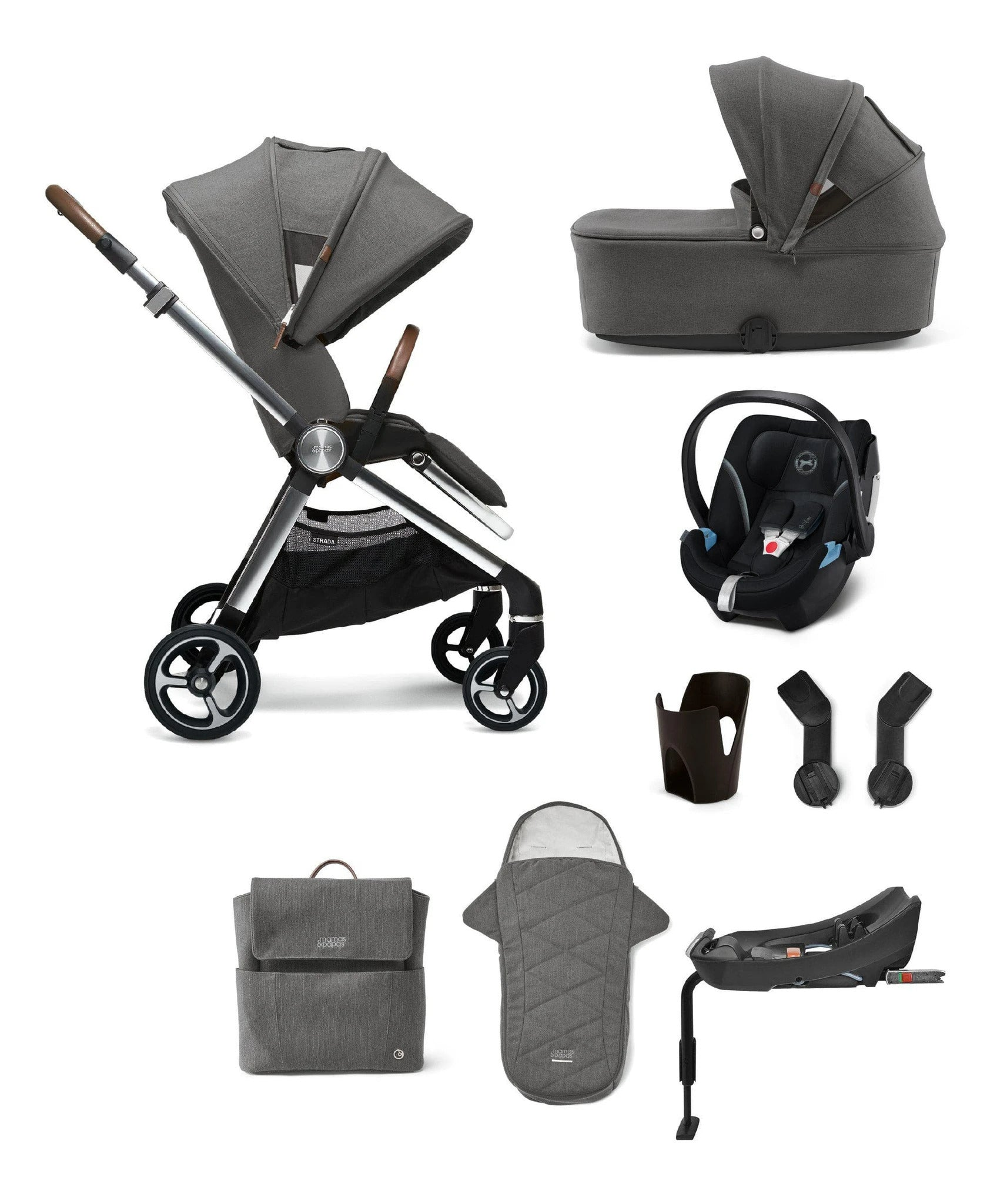 Strada Complete Kit (Inc Pushchair, Carrycot, Adaptors, Cupholder, Bag, Footmuff, Aton 5 - Black & Isofix Base)