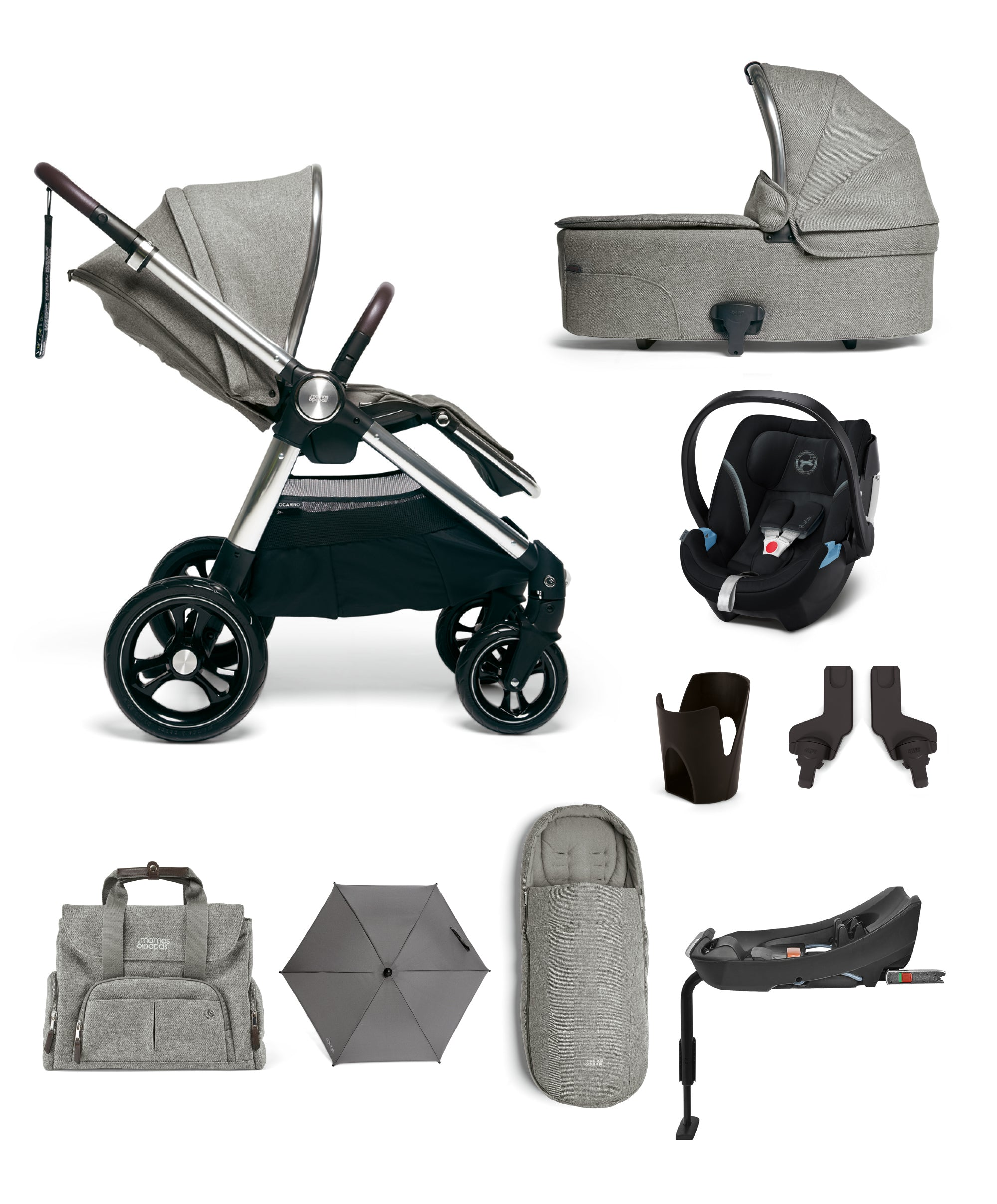 Ocarro Complete (Inc Pushchair/Bear/Blanket, Carrycot, Adaptors, Cupholder, Bag, Footmuff, Parasol, Aton 5 & Isofix Base)