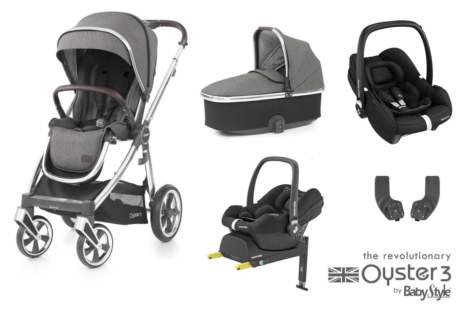BabyStyle Oyster 3 Essential Bundle With Tinca Car Seat and Base