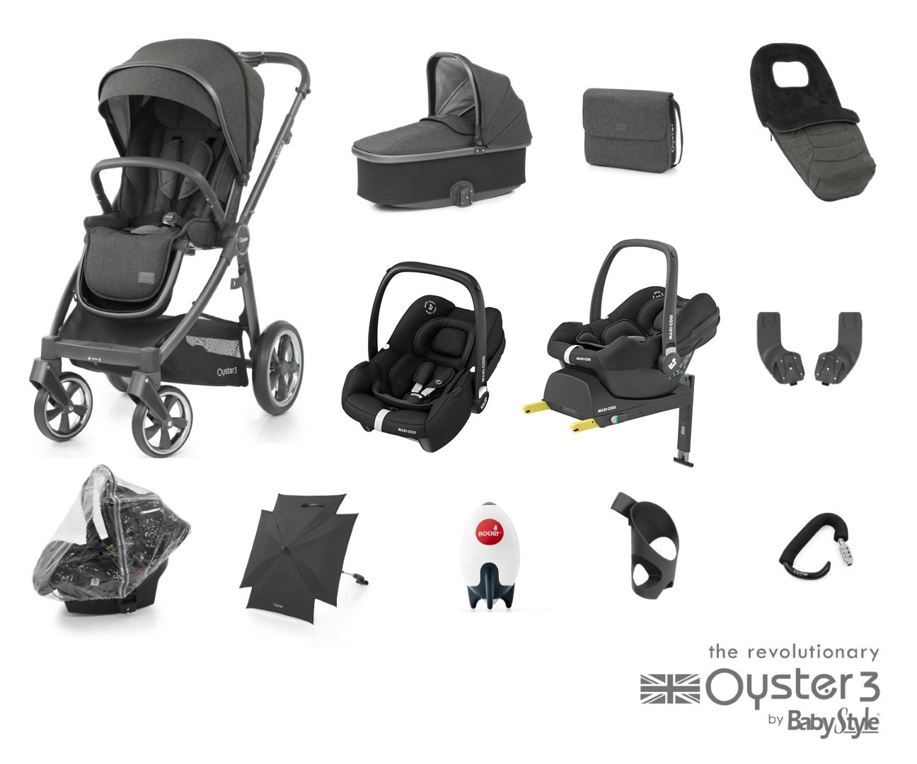 BabyStyle Oyster 3 Ultimate Bundle With Tinca Car Seat and Base