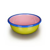 BOWL - chartreuse and soft pink with electric blue rim
