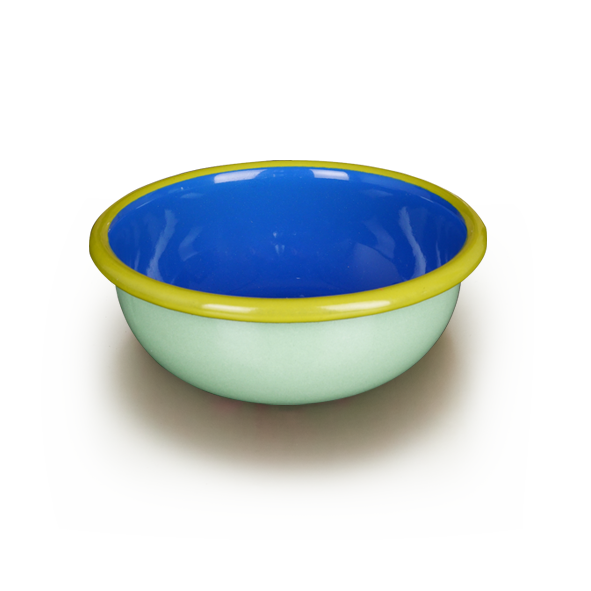 BOWL - mint and electric blue with chartreuse rim