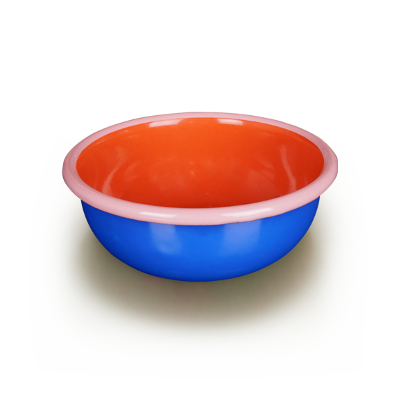 BOWL - electric blue and coral with soft pink rim