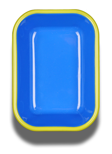 Bornn Enamelware BAKING DISH - electric blue with chartreuse rim