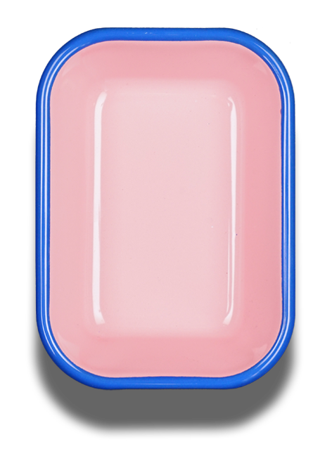 BAKING DISH - soft pink with electric blue rim