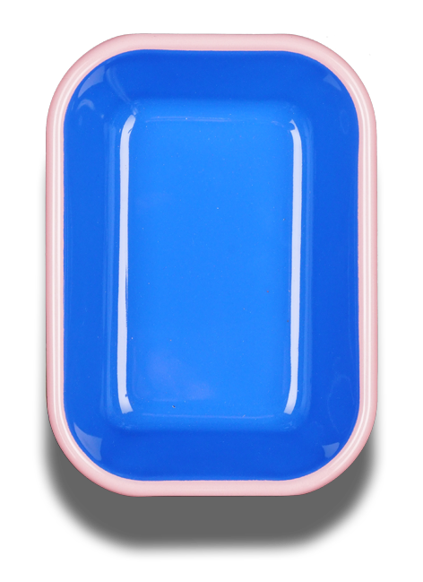 BAKING DISH - electric blue with soft pink rim