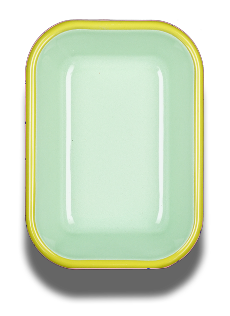 Bornn Enamelware - BAKING DISH - mint with chartreuse rim