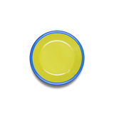COOKIE PLATE 12cm - chartreuse with electric blue rim