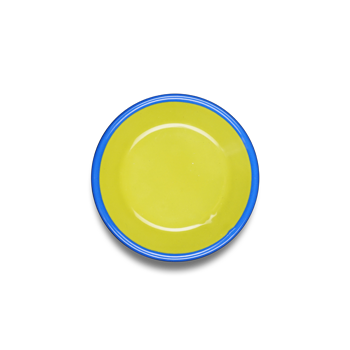 SAUCE PLATE 12cm - chartreuse with electric blue rim