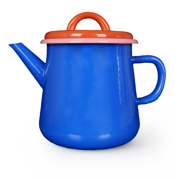 TEA POT - electric blue and coral with soft pink rim