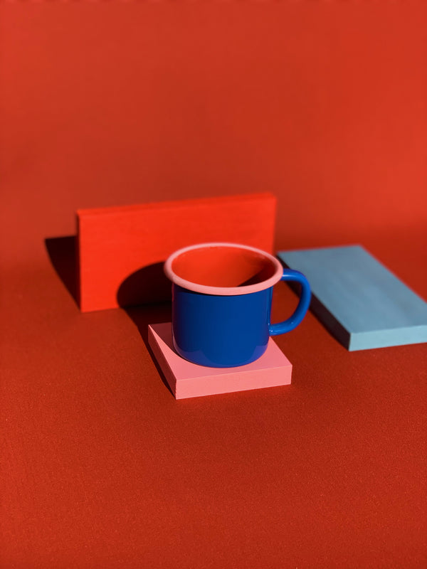 MUG - electric blue and coral with soft pink rim
