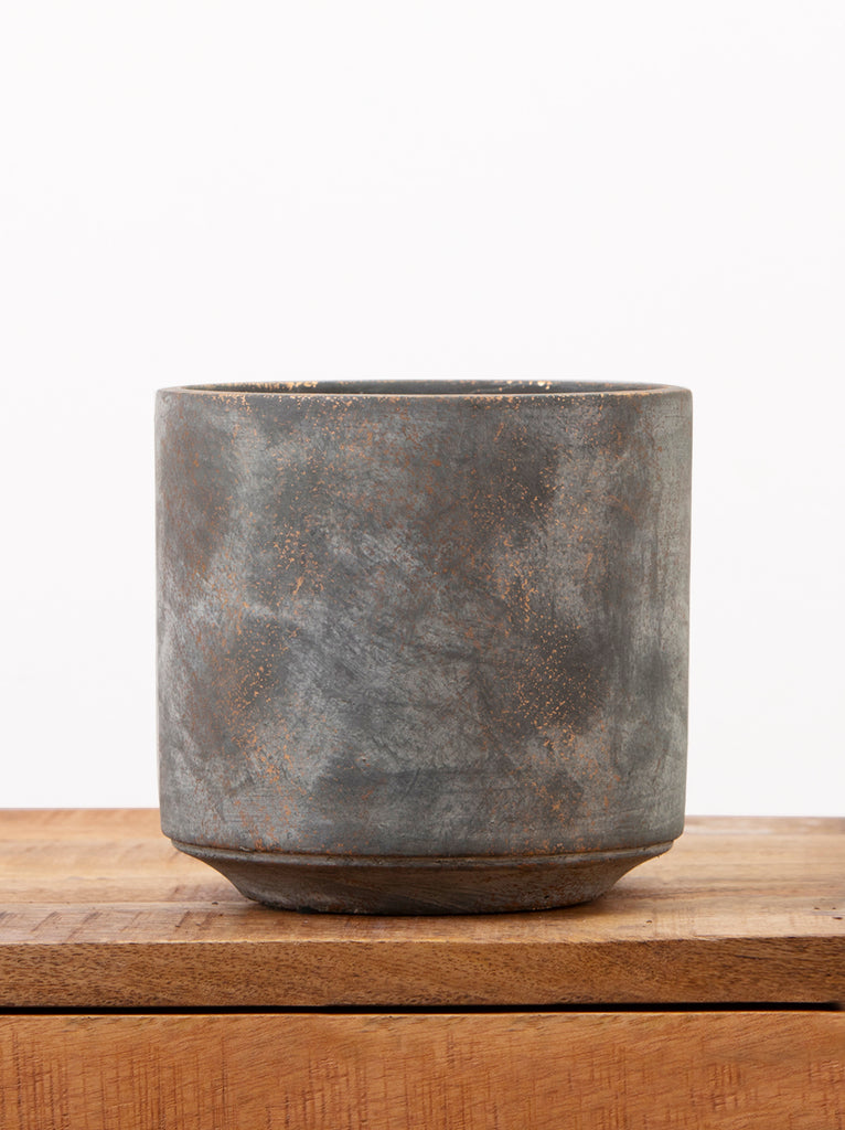 Concrete Grey and Gold Plant Pot Ballyseedy