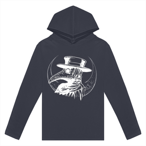 Plague Doctor Long Sleeve Hooded Tee - Crescent Chalice