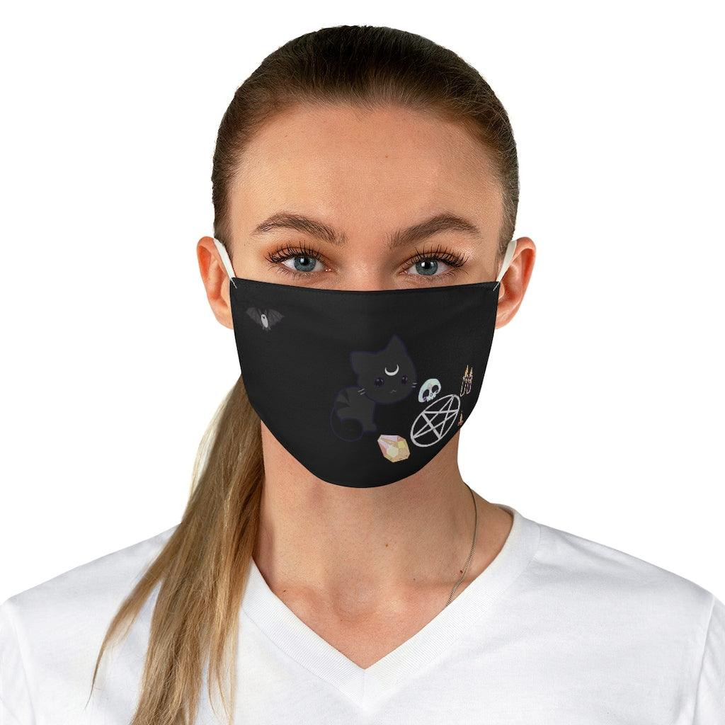 Witche's Black Cat Reusable Fabric Face Mask - Crescent Chalice
