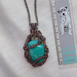 OOAK Wire Wrapped Amazonite Pendant - Crescent Chalice