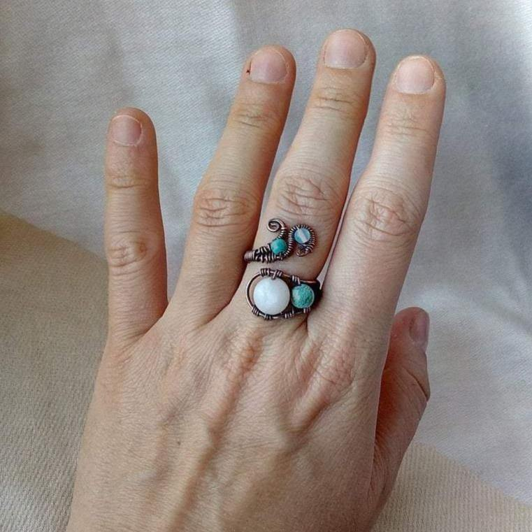 Adjustable Wire Wrapped Ring - Crescent Chalice