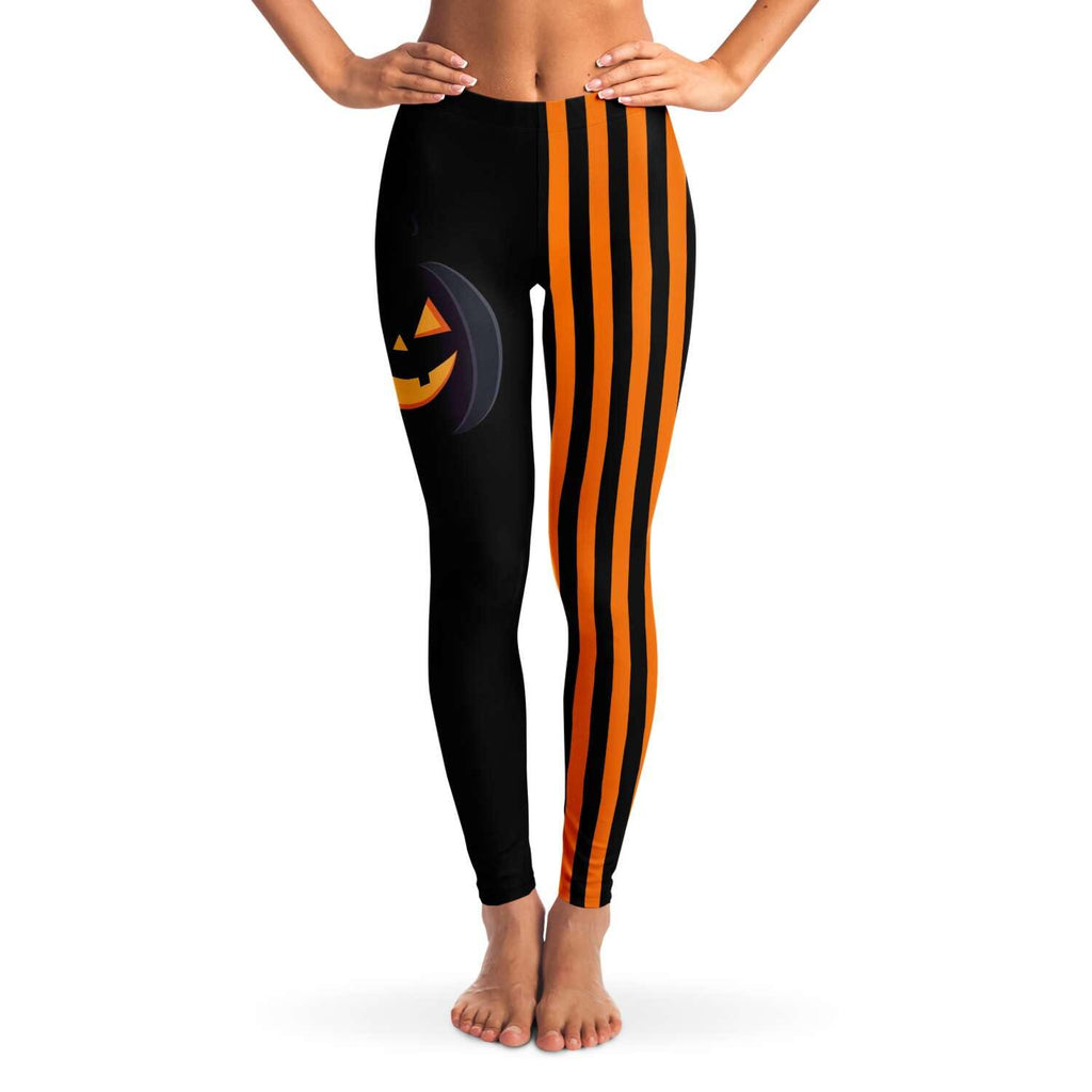 Black Jack Stripped Leggings - Crescent Chalice