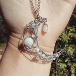 Crescent Moon Wire Wrapped Pendant - Crescent Chalice