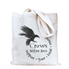 Crows Before Bros Linen Tote Bag - Crescent Chalice