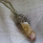 Wire Wrapped Agate Column - Crescent Chalice
