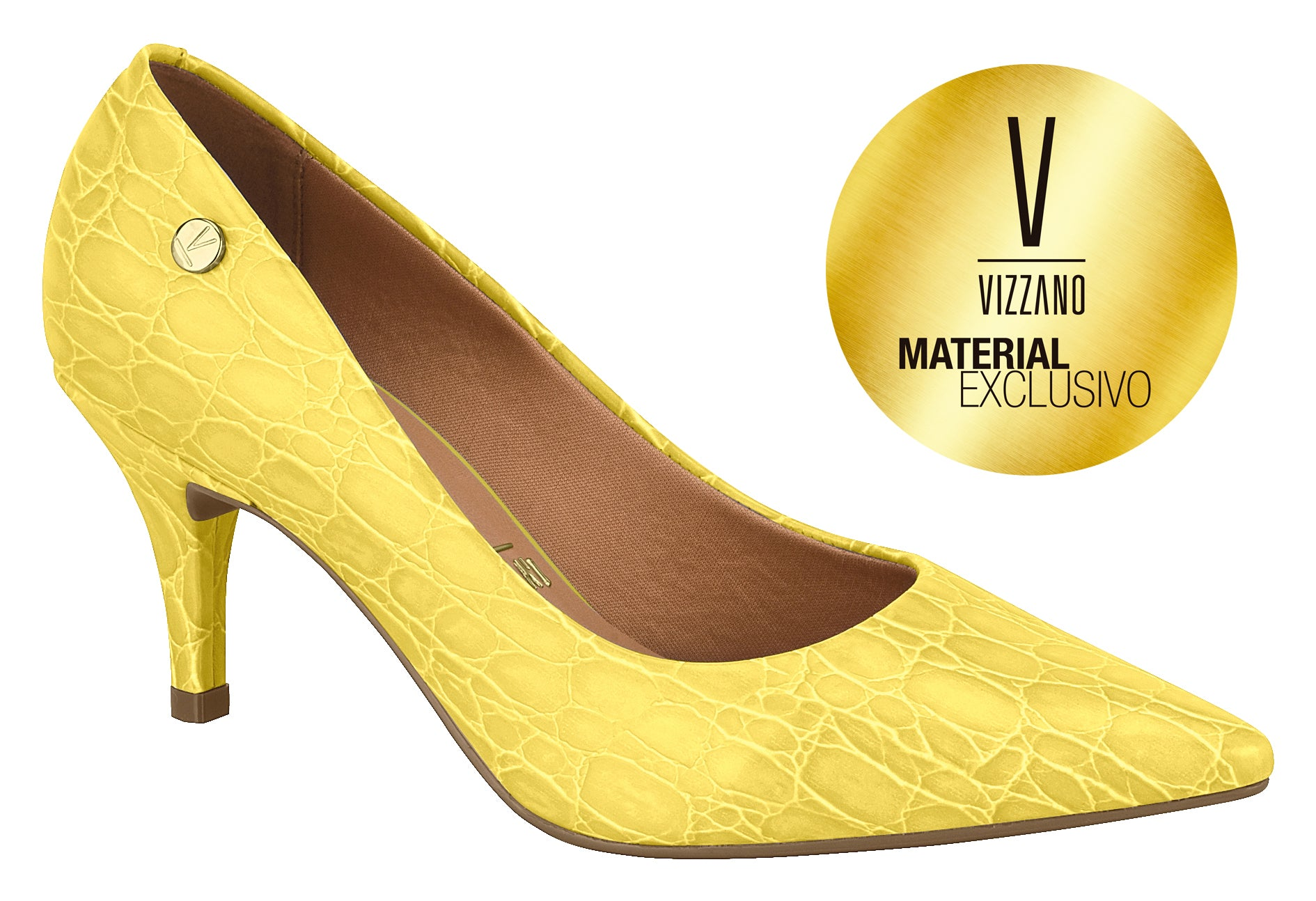 Yellow Crocodile Skin Kitten Pumps