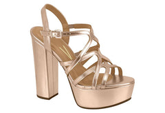 Rose Gold Strappy Block Heels