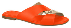 Orange Slide On Sandal