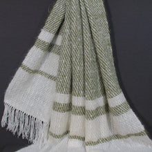 Load image into Gallery viewer, Off-white/ Pistachio Mohair Throw