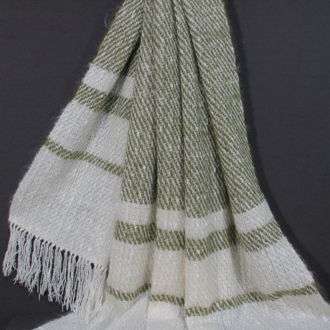 Off-white/ Pistachio Mohair Throw