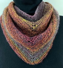 Load image into Gallery viewer, Knitted Triangle Scarf (Rust, Purple, Gold)