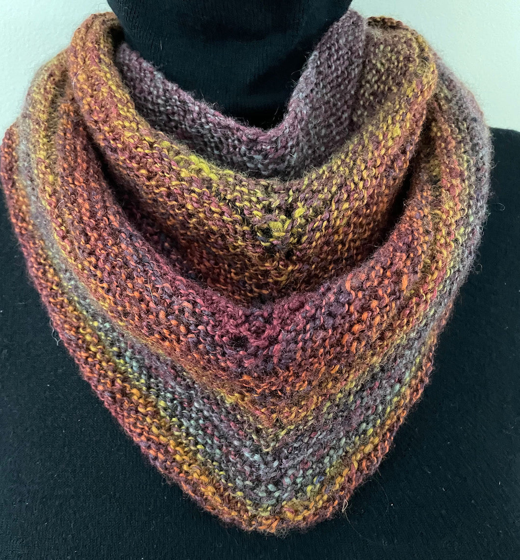 Knitted Triangle Scarf (Rust, Purple, Gold)