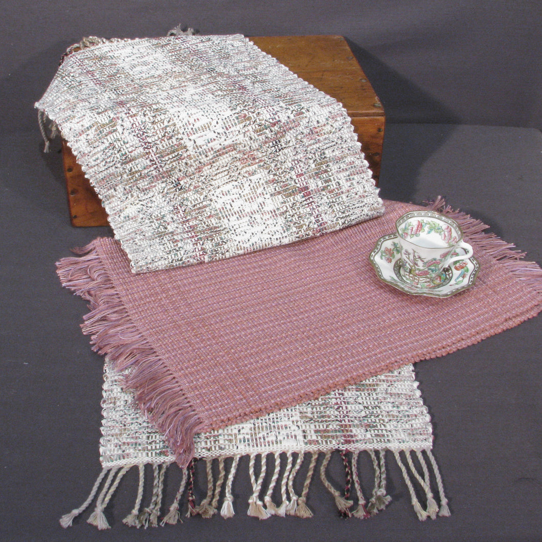 Burgundy & Neutrals Upcycled Table Runner & 2 Complimentary Placemats