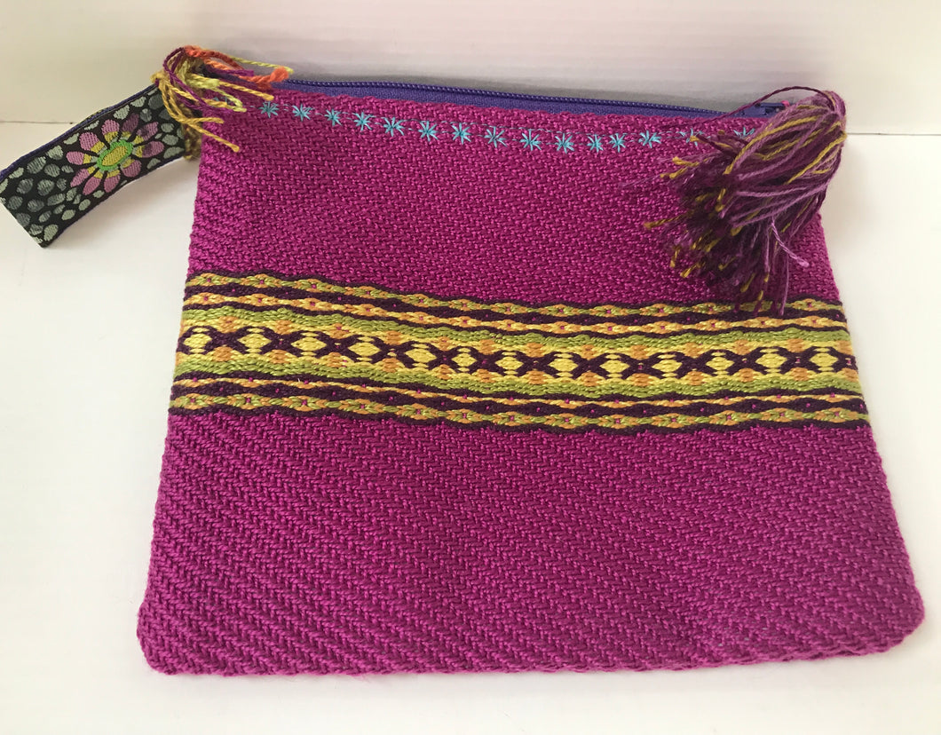 Handwoven Make-up Bag (Pink/Gold)