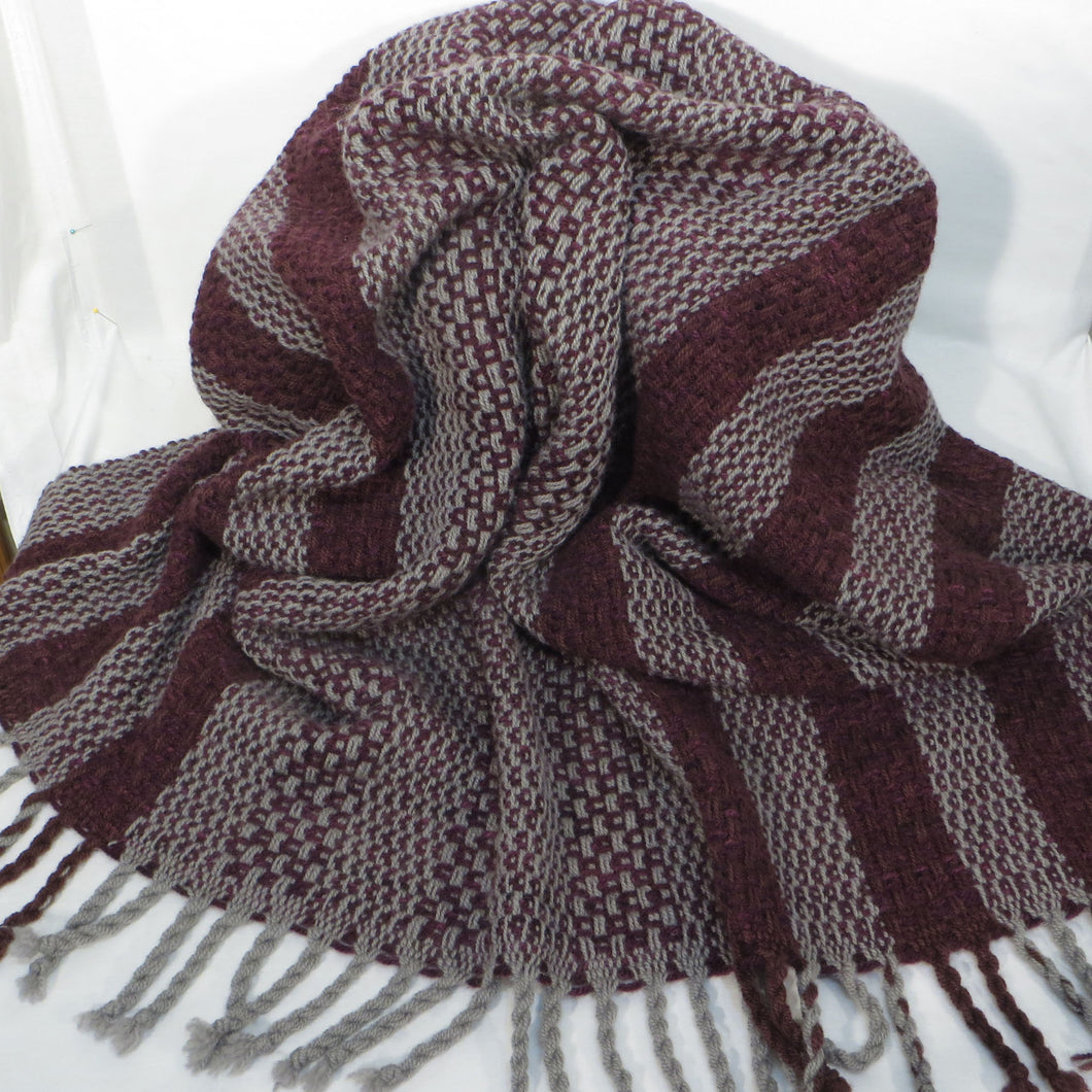 Throw (Gray, Burgundy)