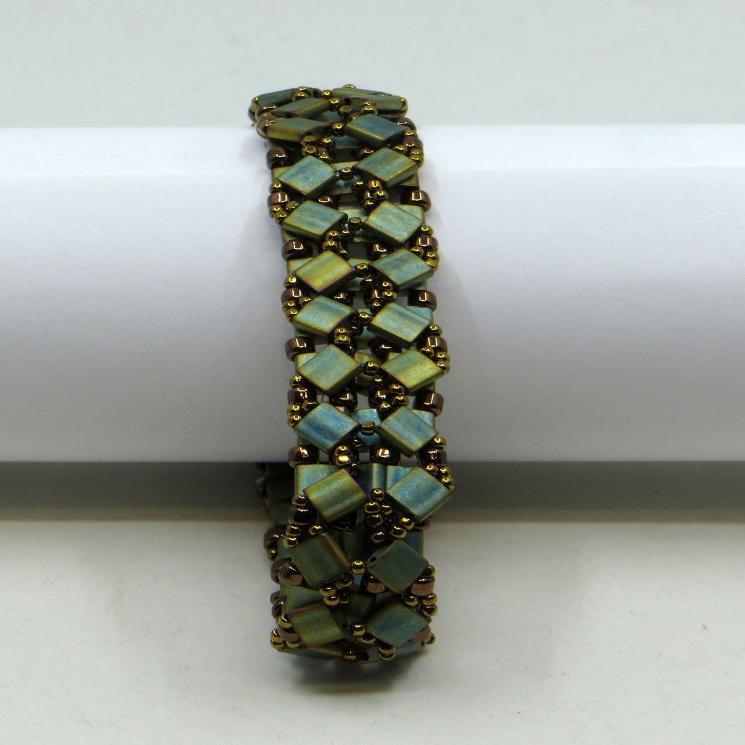 Beaded Bracelet (Brass, Green Tila Beads)