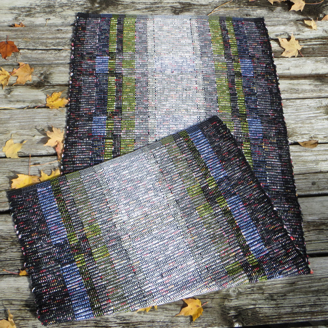 Up-cycled Rug  (Black and Gray, with Coloured Flecks)