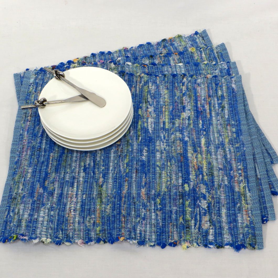 Upcycled Blue Placemats (Various Blues, Flecks of Colour) Set of 4