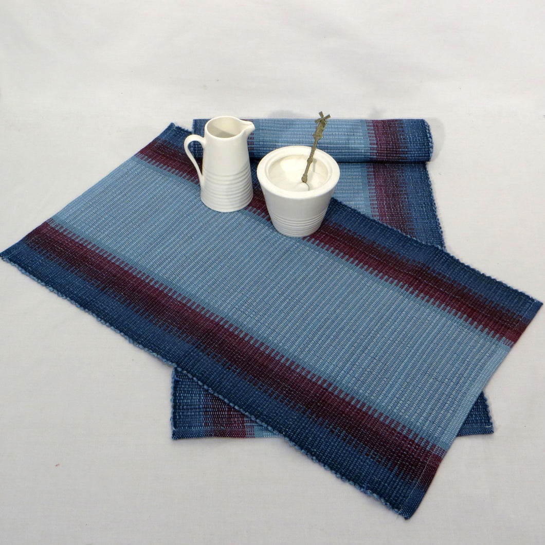 Table Runner and Placemats (Blues, Wine, Burgundy)