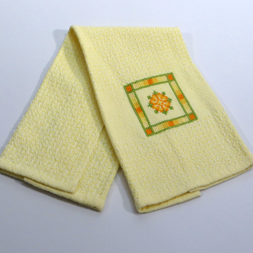Hand Towel (White, Pale Yellow, Embroidered)
