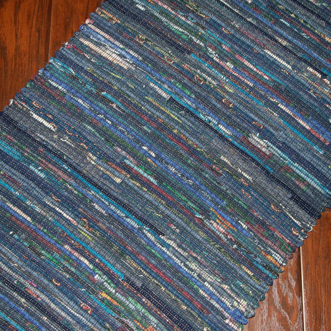 Upcycled Rug (Blue Medley)