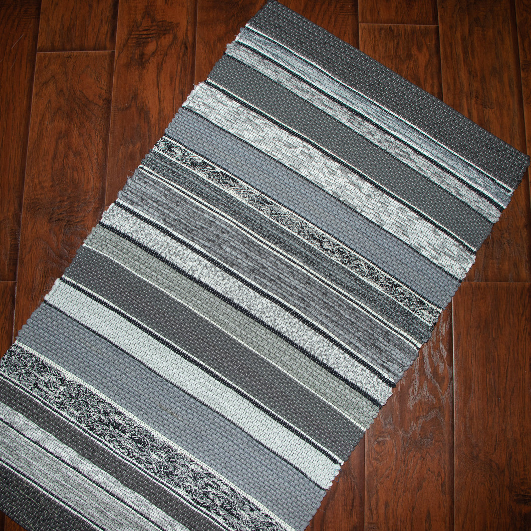 Up-cycled Rug (Grey, Black, White)