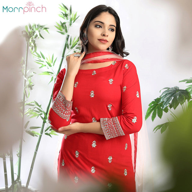 Red Rayon Suit Set