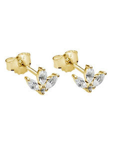 MURKANI Lotus Studs with White Topaz in Gold