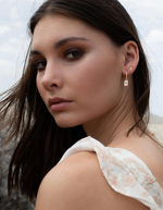 Load image into Gallery viewer, MURKANI Desert Flower Rectangle Earrings with White Topaz in Gold